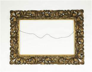 Late 19th c. Continental pierce carved giltwood frame