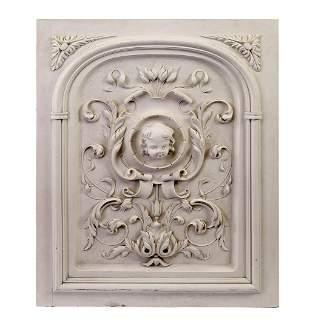 "Cast plaster figural putto architectural panel, 29""h"