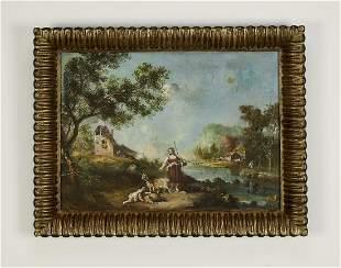 19th c. Continental O/c Rococo style landscape