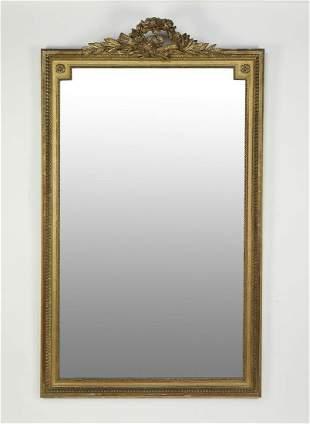"Continental giltwood Louis XVI style mirror, 71""h"