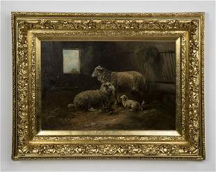 P. Schouten signed O/c of sheep in a barn, 19th c.