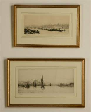 (2) 19th c. framed etchings of London, signed Wyllie