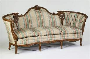 """Victorian style carved walnut settee, 82""""l"""