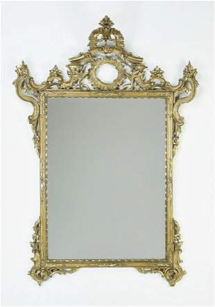 """Early 20th c. giltwood Rococo style wall mirror, 62""""h"""