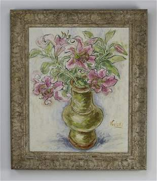 American O/c floral still life, signed