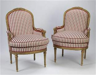 (2) French Louis XVI style bergeres in silk