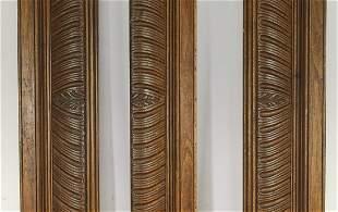 "(3 pcs) 19th c. French carved oak moldings, each 79""l"
