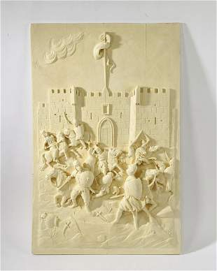 Architectural panel of medieval soldiers in battle