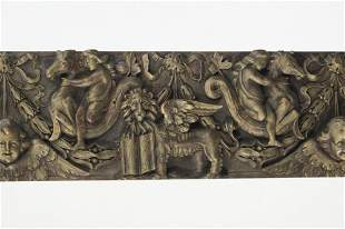 19th c. Italian carved and parcel gilt panel