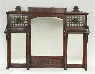 Late 19th c. Aesthetic Movement mahogany mirror