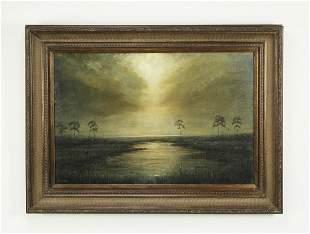 "Signed Dean Gioia O/c marsh landscape, 46""w"