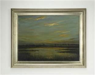 "Signed Dean Gioia O/c marsh landscape, 49""w"