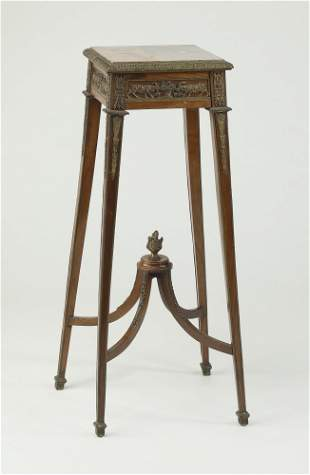 19th c. French bronze mounted marble top pedestal