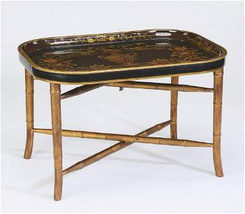 Asian inspired lacquer tray stand cocktail table