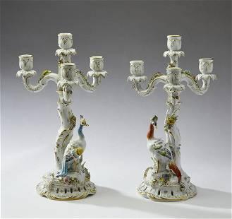 (2) Plaue Schierholz porcelain figural candelabra