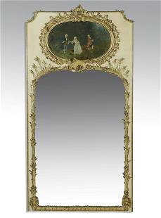 """19th c. French paint-decorated trumeau mirror, 78""""h"""