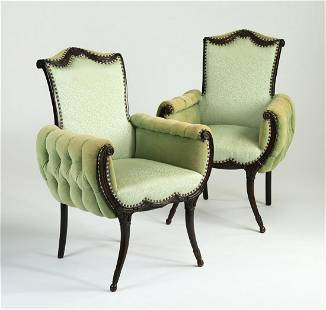 (2) Mid-20th c. Hollywood Regency style armchairs