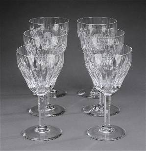 (6) Val St. Lambert 'Zematt' crystal wine glasses
