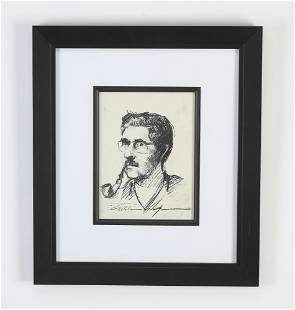 Wane Morrell signed, dated pencil portrait