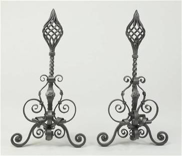 Pair of Continental wrought iron andirons