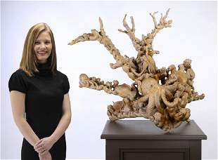 Burmese carved rootwood sculpture with sea life
