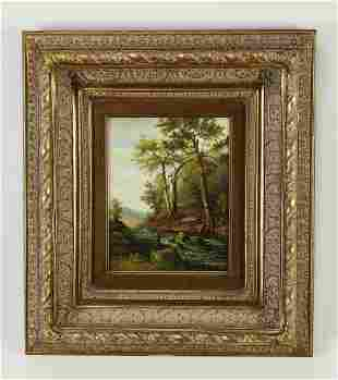 Contemporary oil on canvas landscape scene, signed