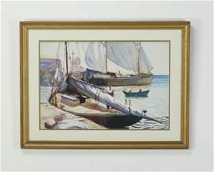 John Whorf signed W/c, sailboats at dock