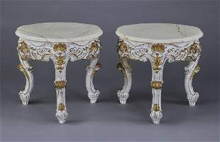 (2) Italian Rococo style onyx top carved end tables