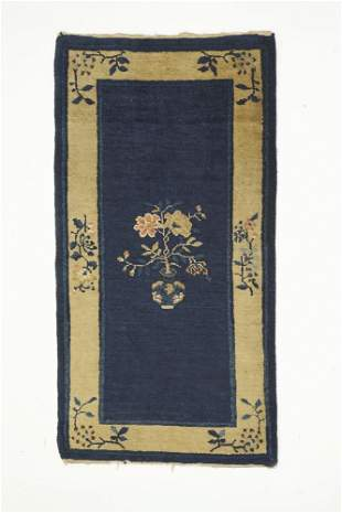 Circa 1940s hand knotted Chinese Art Deco carpet