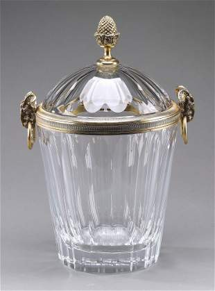 French Baccarat style cut crystal ice bucket