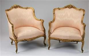 (2) Louis XV style gilt wood bergeres