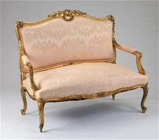 Louis XV style gilt wood settee