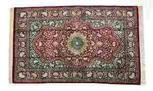 Signed Persian silk-on-silk Qum rug, 5 x 3