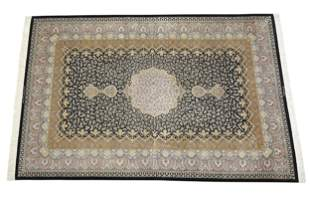 Signed Persian hand knotted silk on silk Qum carpet