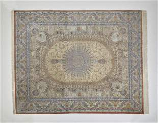 Signed Persian hand knotted silk on silk carpet