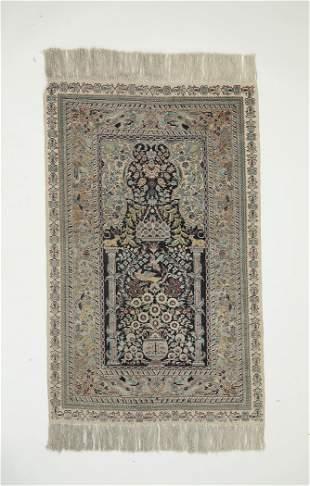 Hand knotted Persian silk on silk prayer rug