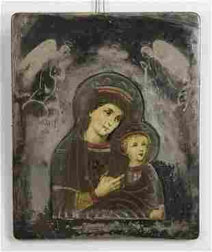 Early 19th c. Greek Orthodox icon, Madonna & Child