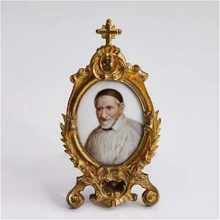 Miniature portrait reliquary of St. Vincent de Paul
