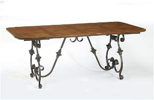 Continental wrought iron parquetry table w/ leaves