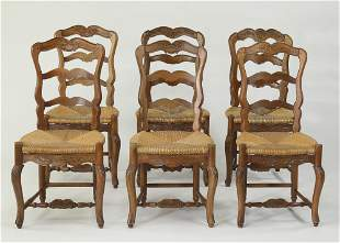 (6) French Provincial chairs with rush seats