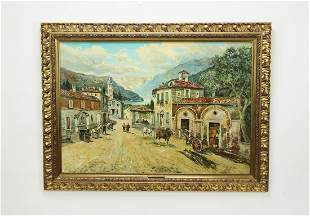 Signed Pietro Virgilio Lietti O/c, Italian village