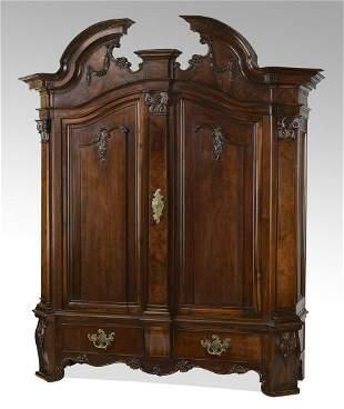 19th c. Continental mahogany and burl wood cabinet