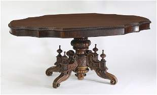 19th c. English Victorian rosewood center table