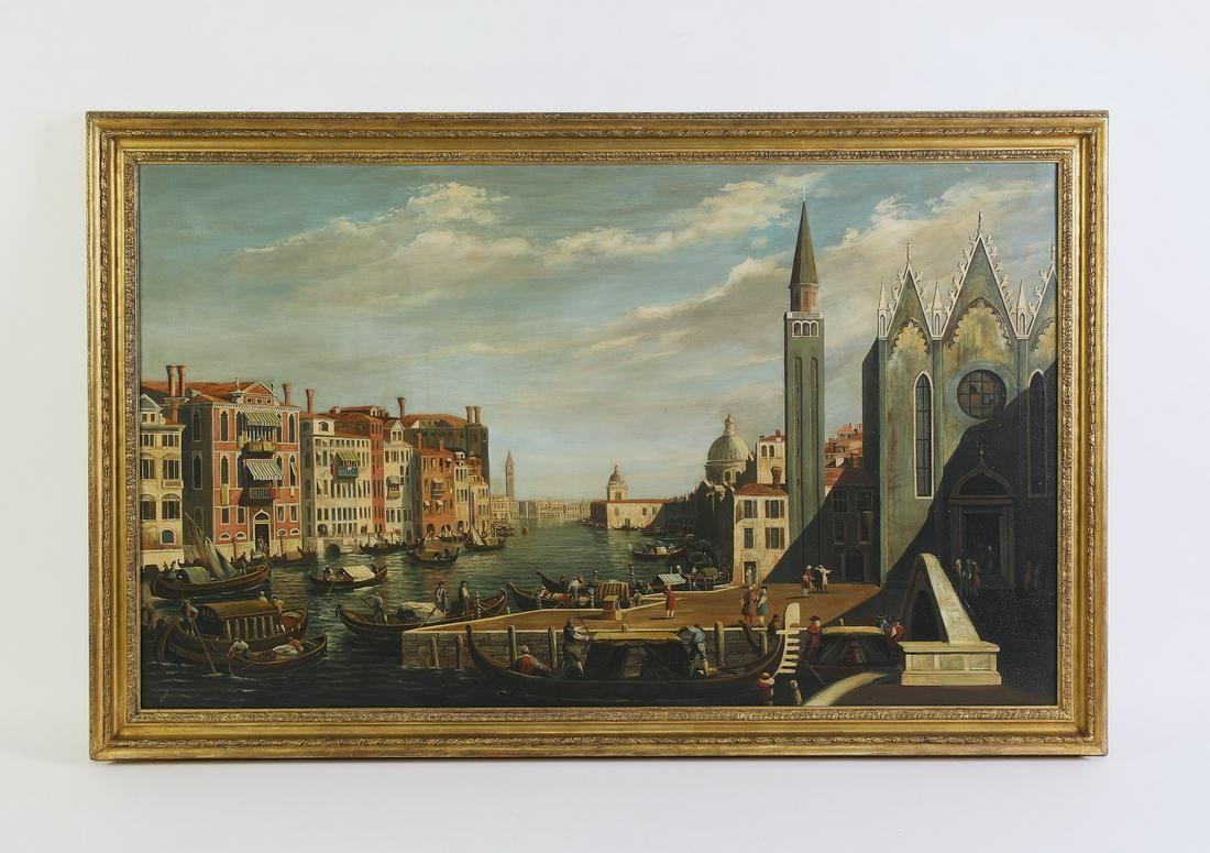 "Early 20th c. Venetian O/c canal scene, 55""w"