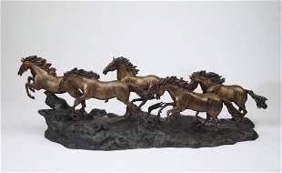 Bronze sculpture of galloping wild horses