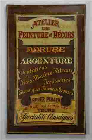 """Hand painted vintage French advertising sign, 48""""h"""