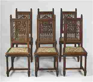 (6) Gothic Revival style oak chairs w/ tapestry seats