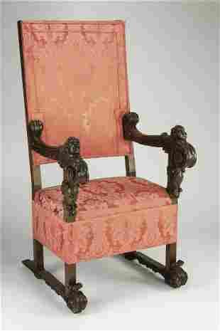 19th c. Italian carved armchair in silk damask