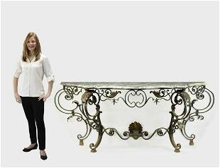 19th c. French marble top wrought iron console