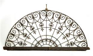 """19th c. Continental wrought iron, 103""""w"""